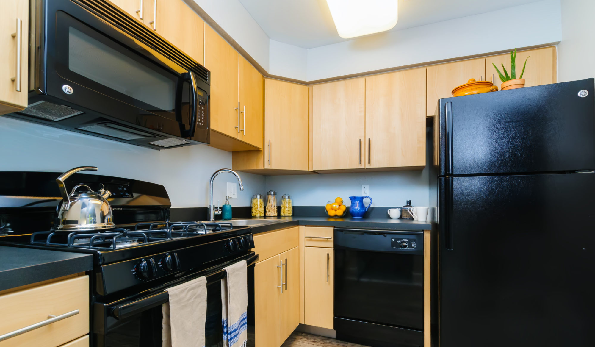 new kitchen in a Delaware apartment with wooden cabinets and black appliances