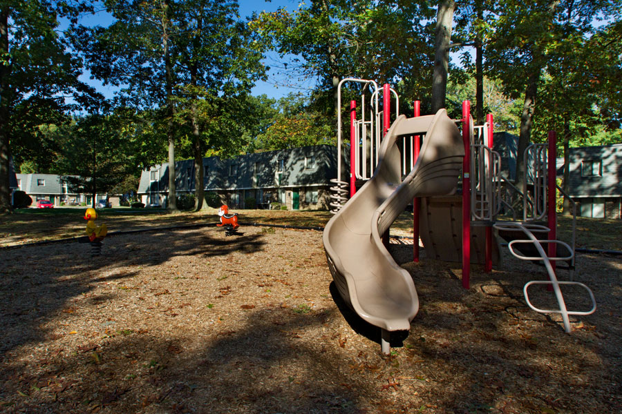 large playground with slide at the townhouses of Buckingham Place in Newark DE