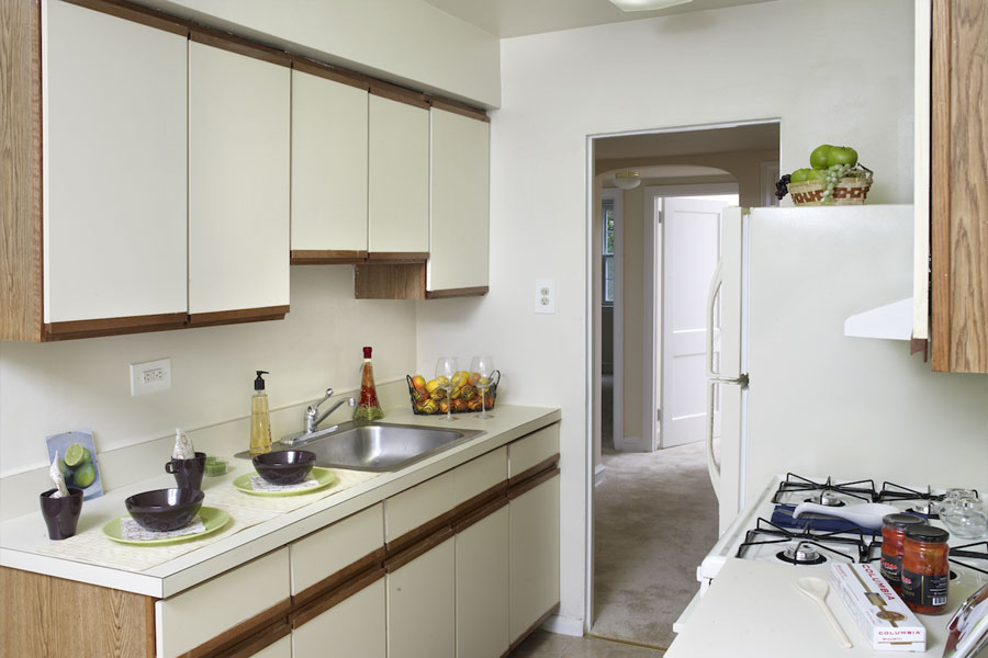 kitchen with gas range stove and cabinet space in the Canterbury Apartments of Mt Airy Philadelphia
