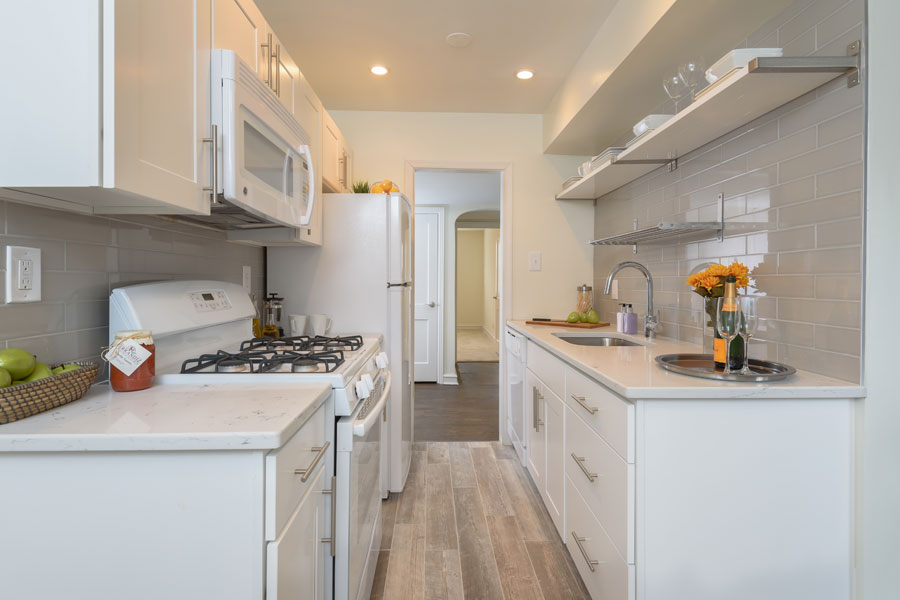 white galley kitchen in Canterbury Apartments in the Mt. Airy section of Philadelphia