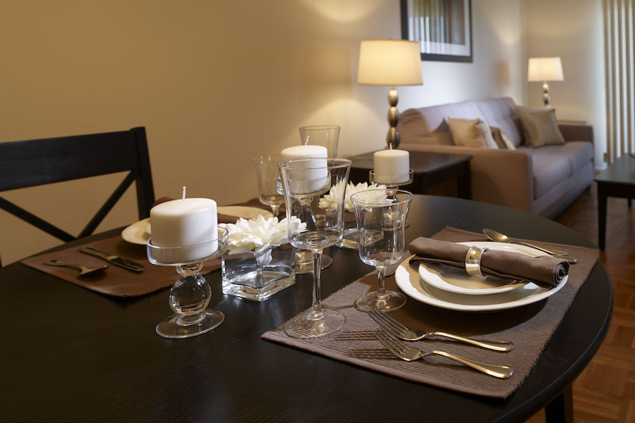 dining table and living room of an apartment in Jenkintown PA