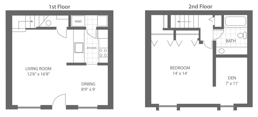 Floor plan of a two-story 1-bedroom apartment townhome with den Newark, DE