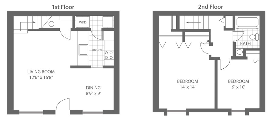 floor plan of a a bi-level townhome style apartment in Newark, DE with 2-bedrooms