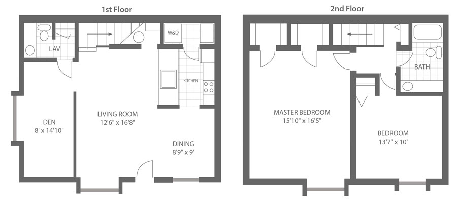 Floor plan of the first and second floors of a 2-bedroom apartment rental in Newark, DE.