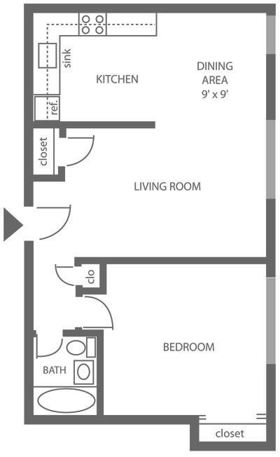 Floor plan of a 1-bedroom Mt. Airy apartment for rent with 600 sq. ft. at Chestnut Terrace