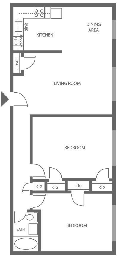Floor plan of a 2-bedroom apartment rental in East Mt. Airy with 1-bathroom at Chestnut Terrace.