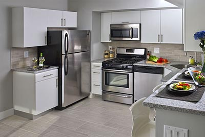 Full view of kitchen in Chestnut Terrace Mt. Airy apartments for rent - Galman Group