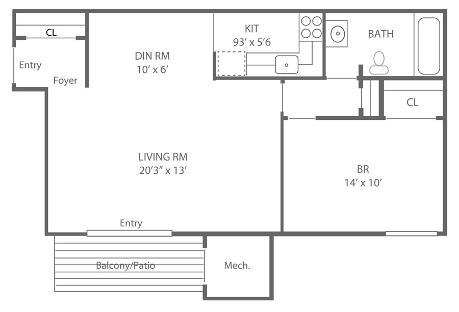 Floor plan of a 1-bedroom apartment in Newark, DE at Cooper's Place
