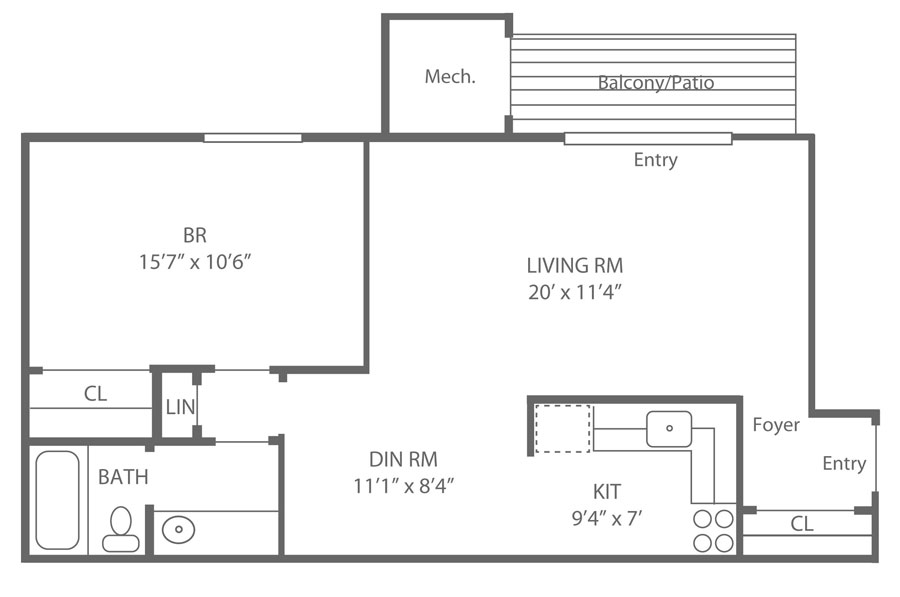 apartment in Newark DE one bedroom floor plan