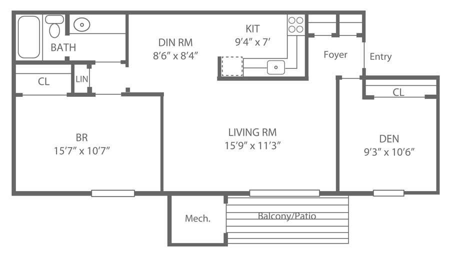 Floor plan of a 1-bedroom rental with den at Cooper's Place in Newark, DE