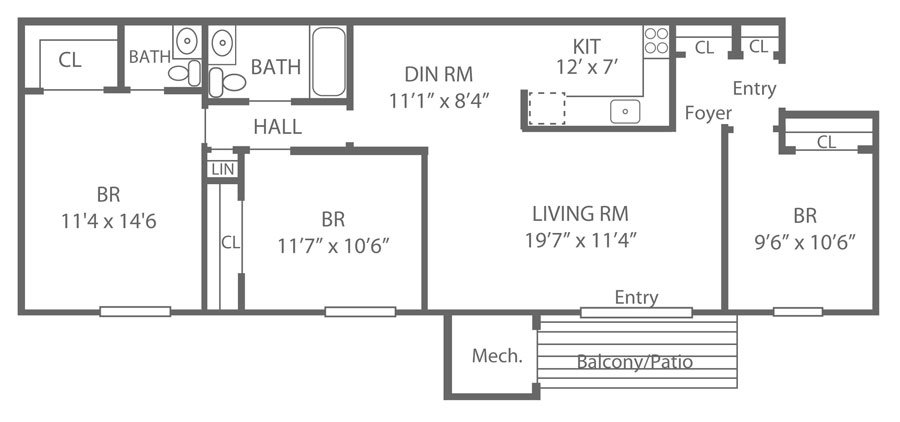 3-bedroom apartment floor plan with 1.5 baths and 1,125 sq. ft. in Newark, DE