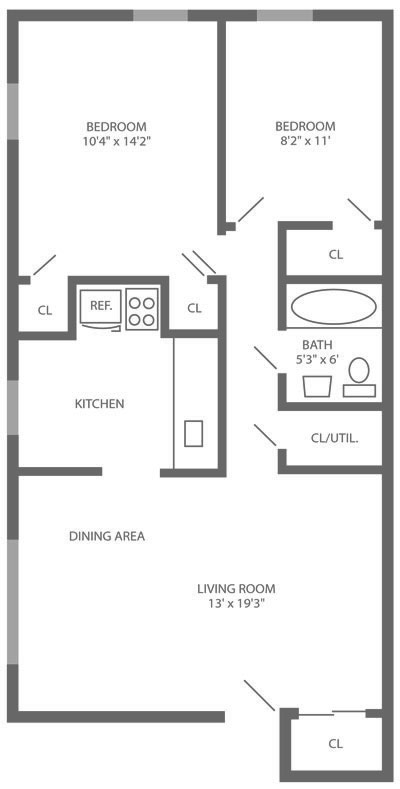 2-bedroom apartment floor plan in the Roxborough-Manayunk section of Philadelphia