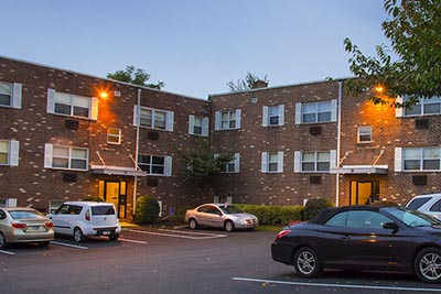 Second parking lot view of Donna Court Philadelphia Mt. Airy apartments - Galman Group