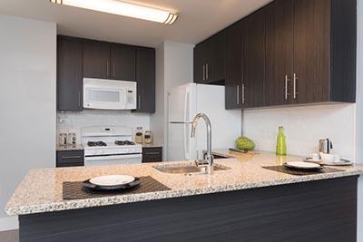 Kitchen view of Donna Court Philadelphia Mt. Airy apartments - Galman Group