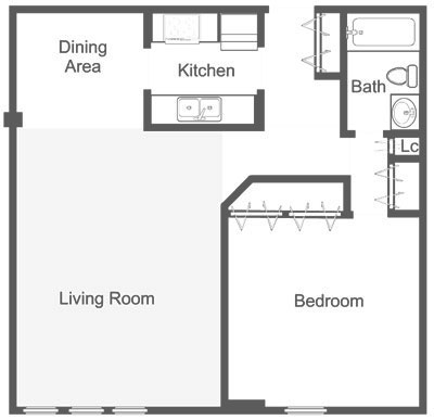 Floor plan showing 869 sq. ft. 1-bedroom apartment in Roxbrough at Dupont Towers