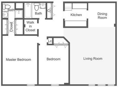 Floor plan of a 2-bedroom Roxborough apartment in Dupont Towers' luxury high rise.