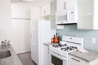 Kitchen view of DuPont Towers Mt. Airy Philadelphia apartment - Galman Group