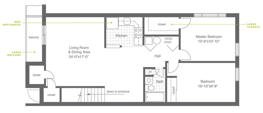 Hillside Apartments 2 Bedroom A