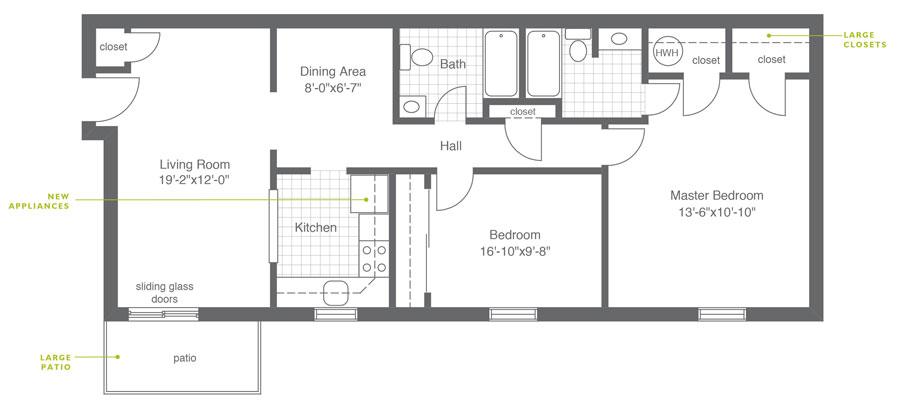 Hillside Apartments 2 Bedroom B
