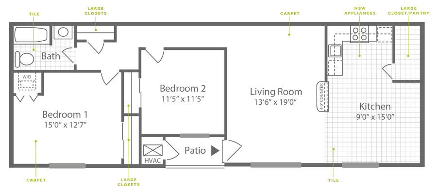 Knightsbridge 2 Bedroom Downstairs