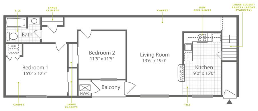 Knightsbridge 2 Bedroom Upstairs
