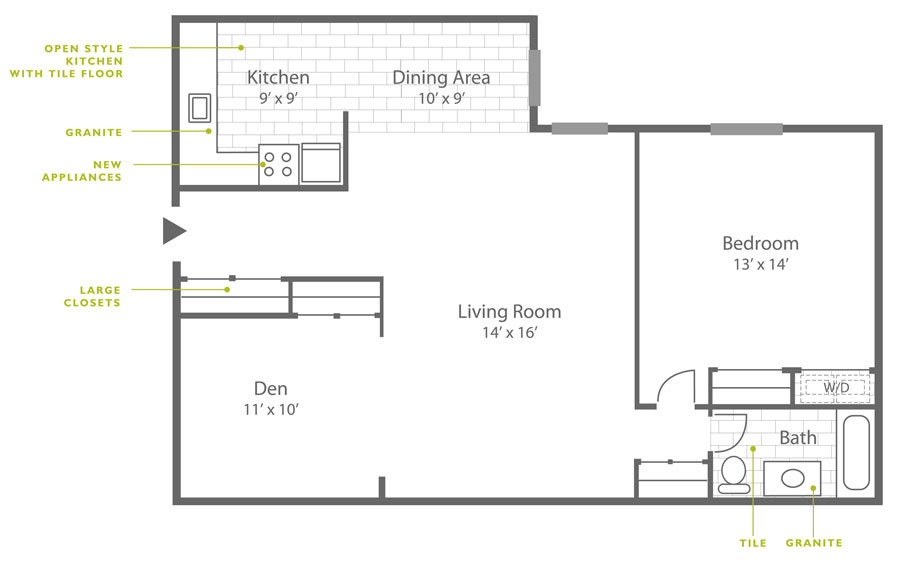 Floor plan of a 1-bedroom apartment for rent in Roxborough with den and 874 square feet.