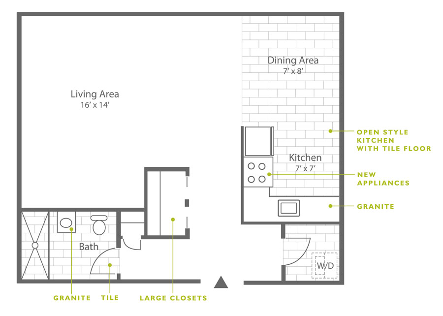 Studio apartment floor plan in the Roxborough section of Philadelphia at Leverington Court