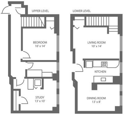 Two story 1-bedroom Mt. Airy apartment floor plan with 817 square feet.