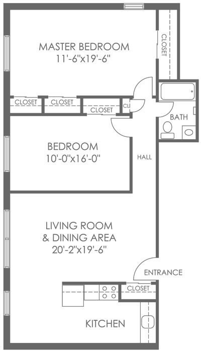 2-bedroom and 1-bathroom Mt. Airy apartment with 900 sq. ft. at 265 Flats