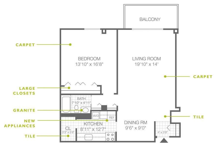 Standard floor plan for a 1-bedroom, 1-bathroom apartment in Willow Grove, PA