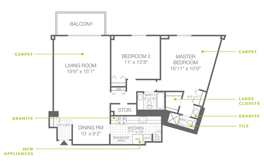 Regency Towers 2 Bedroom 2 Bath Unit D