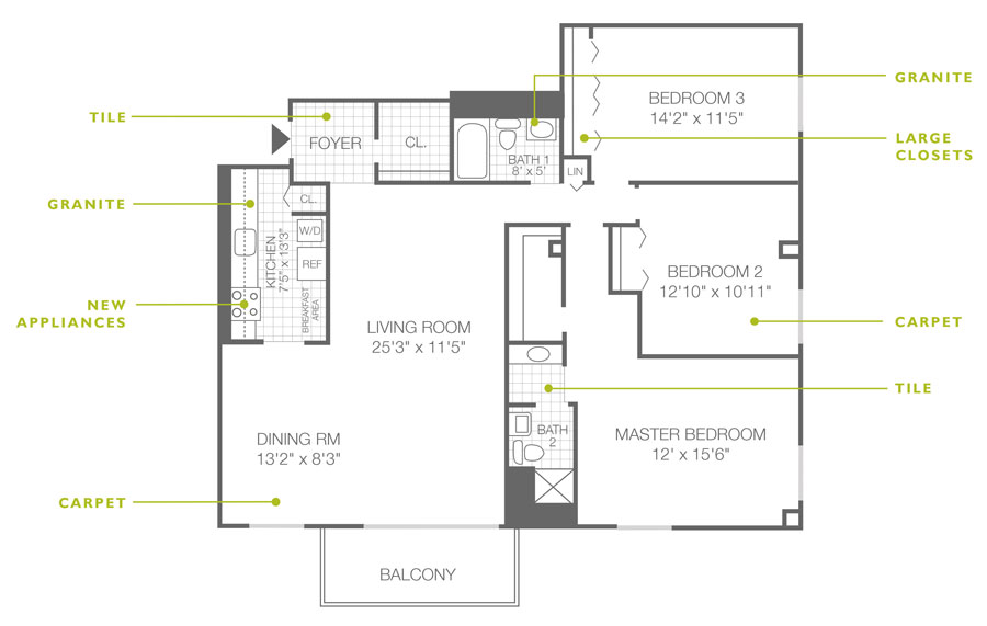 Regency Towers 3 Bedroom 2 Bath