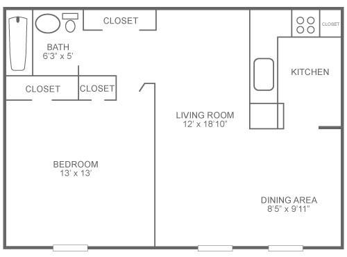 1-bedroom, 1-bathroom Roxborough rental floor plan at The Ridge Apartments