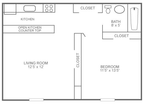 Floor plan of a junior 1-bedroom apartment with 450 sq. ft. in Roxborough at The Ridge Apartments