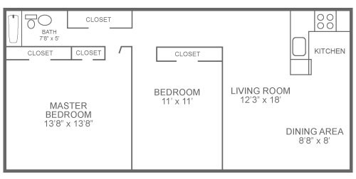Floor plan of a 2-bedroom, 1-bathroom apartment in Roxborough at The Ridge Apartments