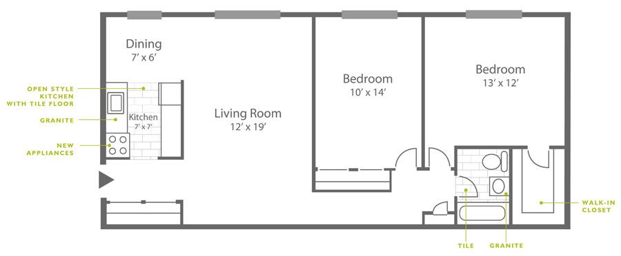 2-bedroom apartment floor plan in Roxborough at Ridge Court