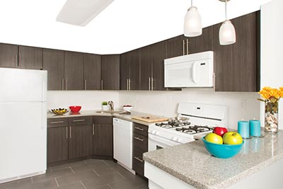 Kitchen with wooden cabinets, white appliances and granite countertops in our apartments in Roxborough Philadelphia - Ridge Court - Galman Group