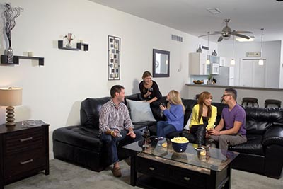 A group of people in our carpeted Roxborough apartments - Ridge Court - Galman Group