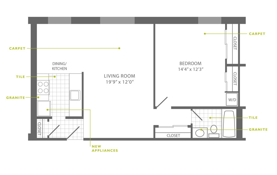 Floor plan of a 1-bedroom apartment on Ridge Ave in Roxborough, Philadelphia