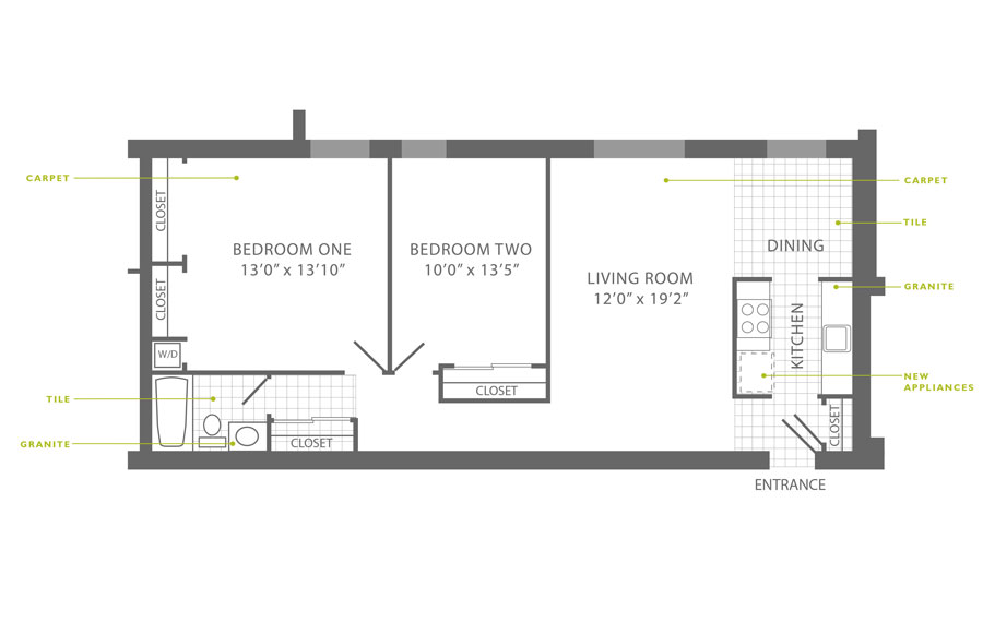 Floor plan of a 2-bedroom apartment in Roxborough for rent at Ridgeview Apartments