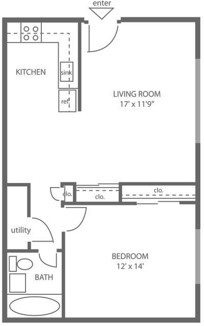 Floor plan of a 1-bedroom, 1-bathroom apartment for rent in Mt. Airy