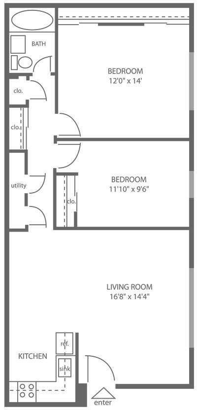 Spacious 2-bedroom floor plan of a Mt. Airy apartment for rent at Stenton Plaza