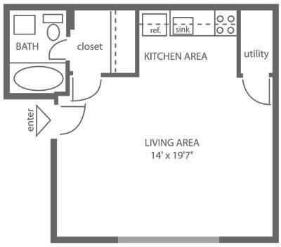 Floor plan of a 305 sq. ft. studio apartment rental at Stenton Plaza in Mt. Airy, Philadelphia.
