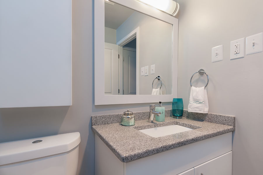 bright and clean vanity in the Whitney Apartment bathroom in Claymont DE