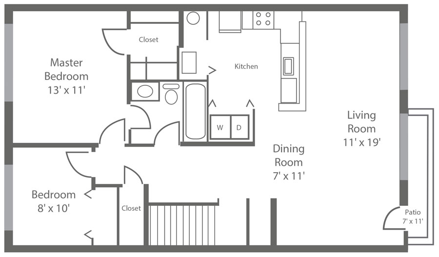 1-bedroom New Castle apartment with den and 880 sq. ft. at Sophia's Place East