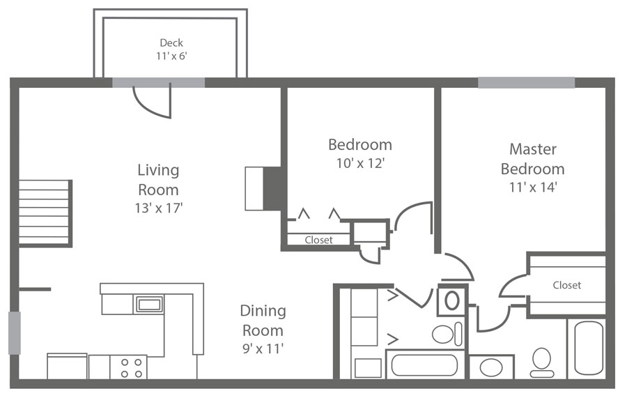floor plan of a 2-bedroom Apartment in New Castle, DE with 2-bathrooms and 1,040 sq. ft. at Sophia's Place East