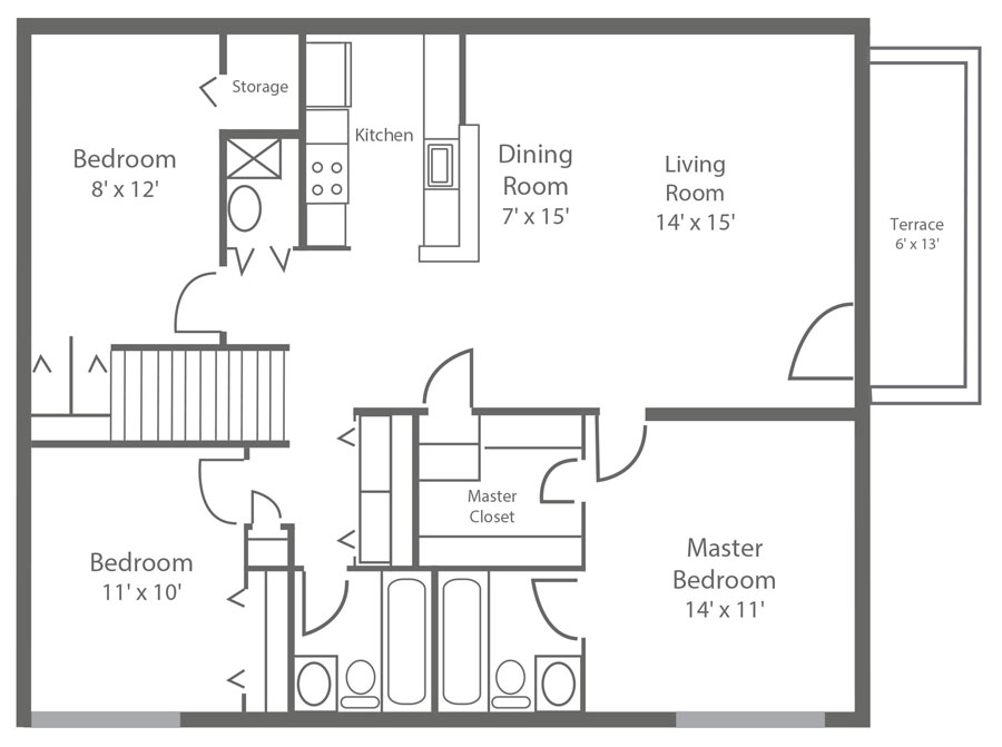 spacious floor plan of a 3-bedroom apartment in New Castle County DE with 2-bedrooms and 1,180 sq. ft. at Sophia's Place East.