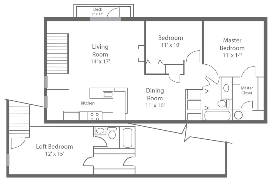 floor plan of a 3-bedroom apartment rental in New Castle, DE with 2-baths and a spacious loft