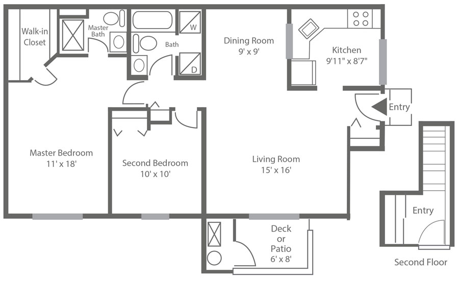 Spacious 2-bedroom New Castle, DE rental at Sophia's Place West with 2-bedrooms and 1,116 sq. ft.