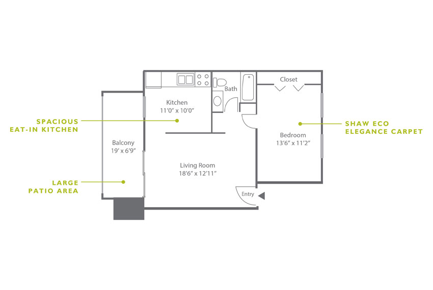 Whitney Floor Plan - 1 Bedroom A1